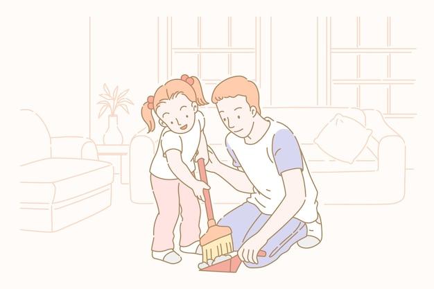 Hombre limpiando sala de estar con niña en estilo de línea fina