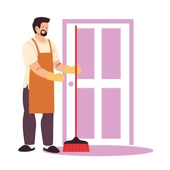Hombre de limpieza haciendo trabajos de limpieza de la casa