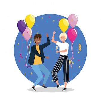Hombre lindo y mujer bailando con globos y confeti