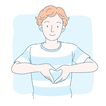 Hombre lindo con el pelo rizado dando gesto con la mano en forma de corazón, estilo de línea fina