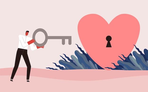 Un hombre con una llave grande abre un corazón con una cerradura.