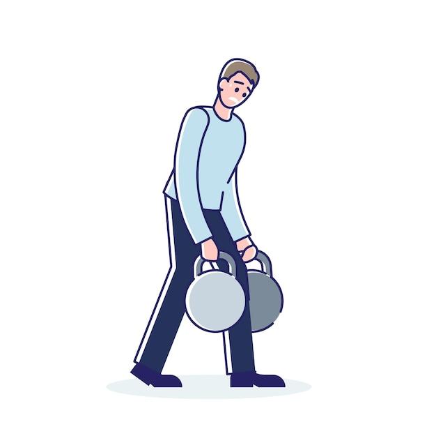 El hombre lleva una carga insoportable, hombre de dibujos animados con un gran peso de impuestos o deudas