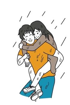 El hombre lleva a su novia en la espalda entre día lluvioso