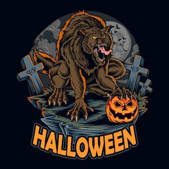 Hombre lobo de halloween en la noche de halloween sosteniendo calabaza de halloween entre tumbas aterradoras ilustraciones vectoriales
