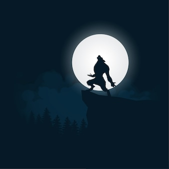 Hombre lobo silueta halloween noche fondo