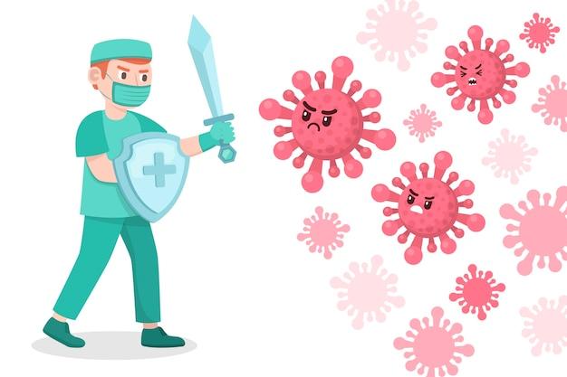 El hombre lucha contra el concepto de virus con escudo