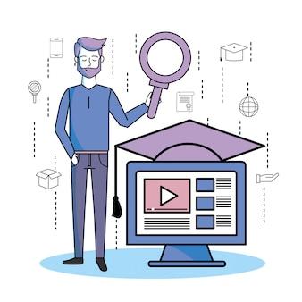 Hombre con lupa y computadora página web video