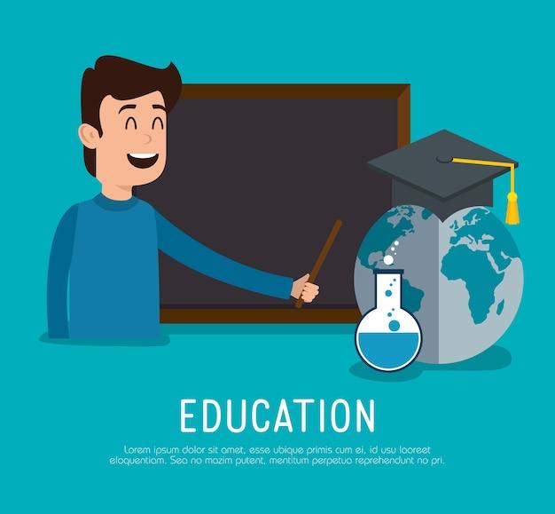 Hombre maestro con iconos de educación