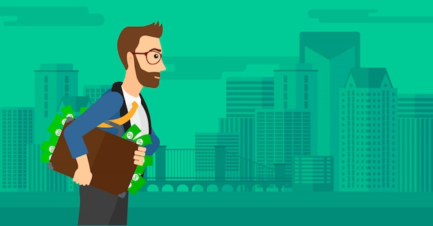 Hombre con maleta llena de dinero.