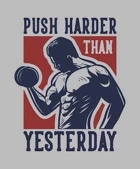 El hombre con mancuernas muestra su músculo para la motivación citar cartel lema