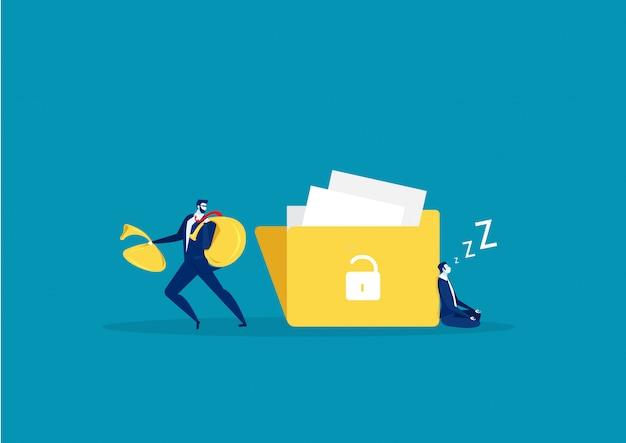 Un hombre con una mano quiere robar información del archivo grande. diseño plano, ilustración vectorial, vector.