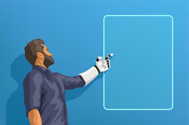 Hombre con mano robótica blanca apuntando en el bastidor