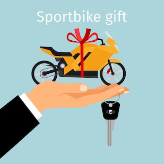 Hombre mano sosteniendo regalo sportbike
