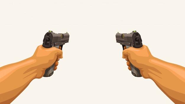 Hombre manos sosteniendo dos pistolas