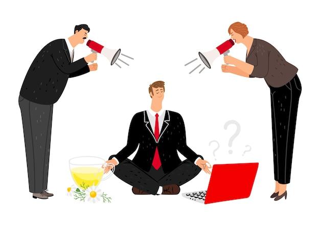Hombre, mantén la calma. gerentes nerviosos con megáfono o megáfono. jefe gritando, meditación de empleado. ilustración de abuso de mente y negocios limpia