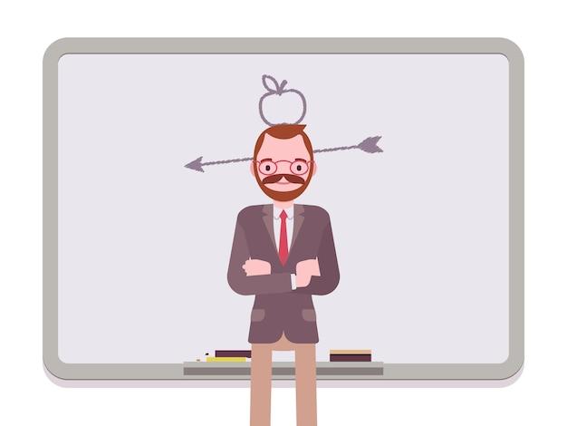 Hombre con manzana dibujada y flecha