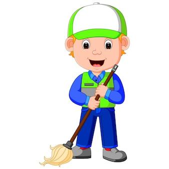 Hombre más limpio con equipos de limpieza