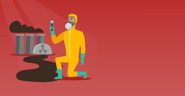 Hombre en máscara de gas y traje de protección radiológica.