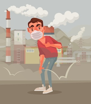 Hombre en máscara protectora triste por aire contaminado
