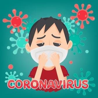 Hombre con máscara para proteger el coronavirus (covid-19). salud y medico. nuevo coronavirus 2019. enfermedad por neumonía. ilustración.