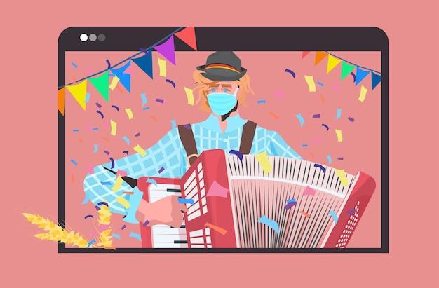 Hombre en máscara tocando acordeón fiesta oktoberfest