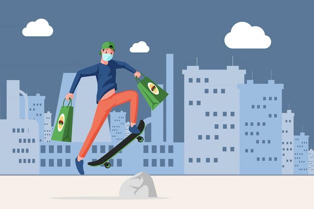 Hombre en mascarilla sosteniendo bolsas con comida rápida y montando en patineta en la ilustración de dibujos animados de la ciudad.