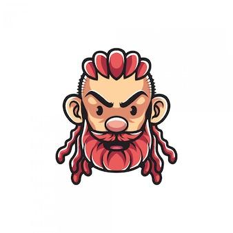 Hombre con mascota de barba rosa