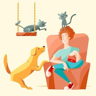 Hombre con mascotas viendo tv