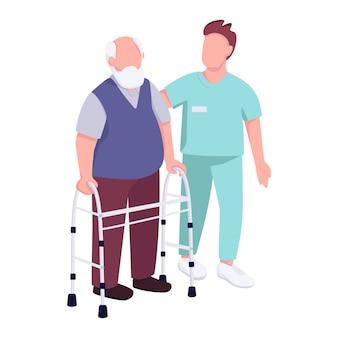 Hombre mayor con andador y voluntario personajes sin rostro de color plano