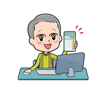 Un hombre mayor con una computadora y una calculadora.