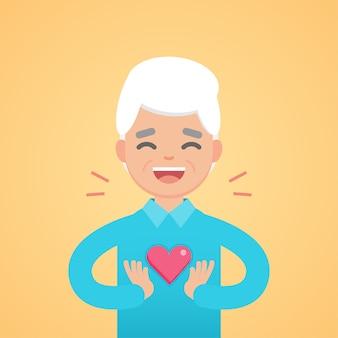 Hombre mayor encantador feliz que lleva a cabo la muestra del corazón