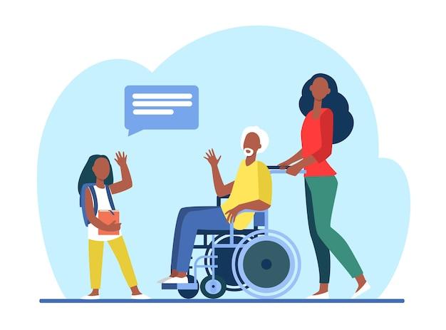 Hombre mayor en silla de ruedas reunión con nieta. chica visitando la ilustración plana del abuelo.