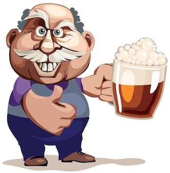 Hombre mayor con vaso de cerveza. cmyk organizado por capas libre de degradados