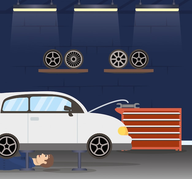 Hombre mecánico trabajando en personaje de automóvil