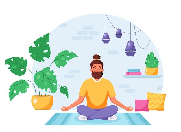 Hombre meditando en posición de loto en un acogedor interior moderno actividad de hogar de estilo de vida saludable