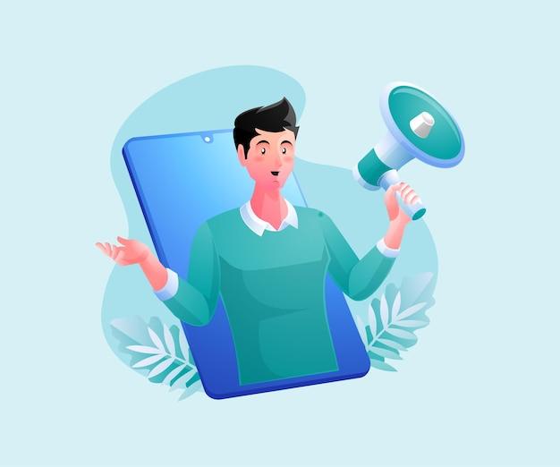 Un hombre con megáfonos, concepto de promoción de estrategia de marketing