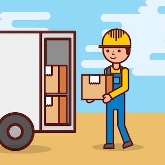 Hombre mensajero de entrega postal hombre delante del camión de carga que entrega el paquete