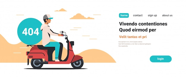 Hombre mensajero montando scooter con error no encontrado 404 icono de computadora roto
