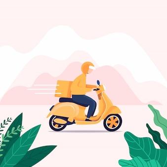 Hombre mensajero montar scooter con caja de paquetería entrega rápida.