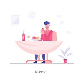 Hombre con mesa comer diseño de ilustración plana de almuerzo
