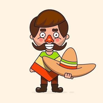 Hombre mexicano de dibujos animados, listo para su diseño, tarjeta de felicitación, pancarta. ilustración vectorial