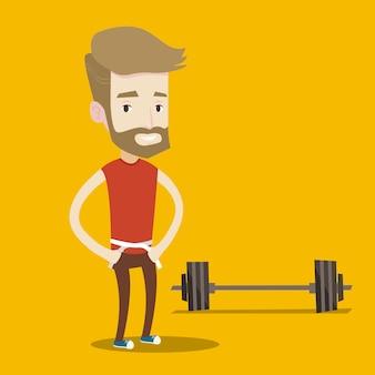El hombre mide la cintura.