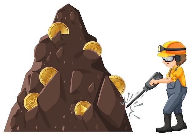Hombre, minería, crytocurrency, de, tierra