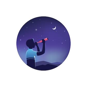 Hombre mirando el cielo estrellado nocturno a través del telescopio