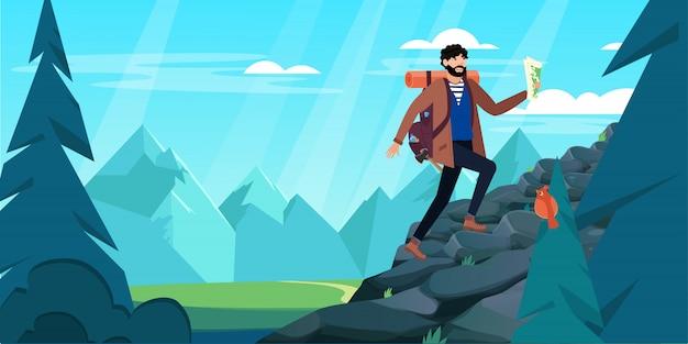 Hombre con mochila, viajero o explorador subiendo montaña o acantilado