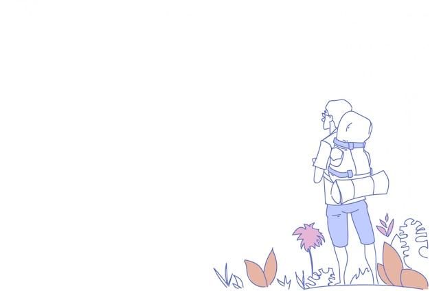 Hombre mochilero disfrutar vista chico viajero verano aventura vacaciones concepto bosquejo doodle horizontal