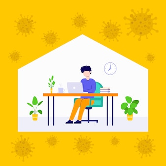 Hombre moderno empleado que trabaja en casa ilustración virus corona 2019 ncov, banners web, adecuado para diagramas, infografías, ilustración de libros, activos de juegos y otros activos gráficos