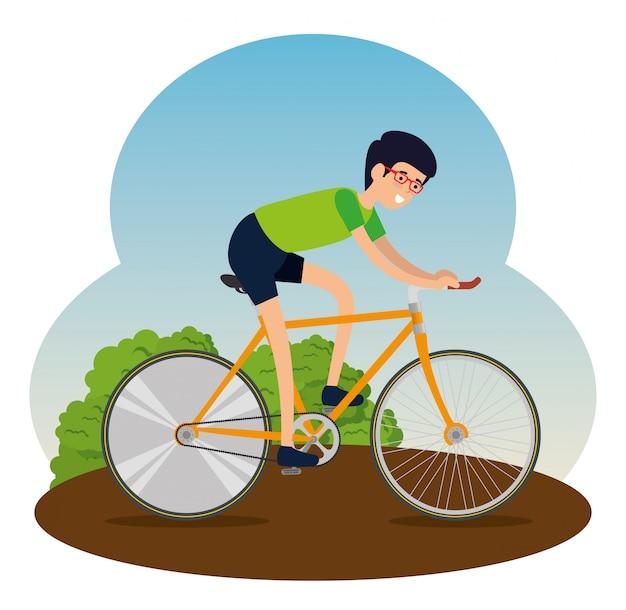 Hombre montando una bicicleta para hacer ejercicio