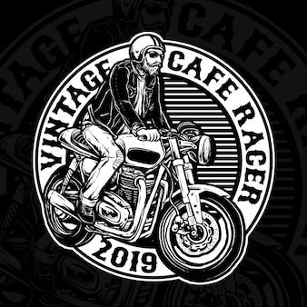 Hombre montando cafe racer logotipo de motocicleta personalizada
