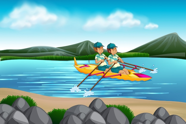Hombre montando canoa en el lago